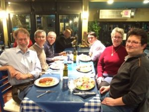 DMREF team enjoys dinner at their favorite Greek restaurant. From left: David H Vanderbilt, Sang-Wook Cheong, Valery Kiryukhin, Jak Chakhalian, Janice Musfeldt, and Kristjan Haule.