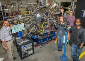 Chemistry alumnus Andi Barbour (first from right), member of the Brookhaven Lab research team
