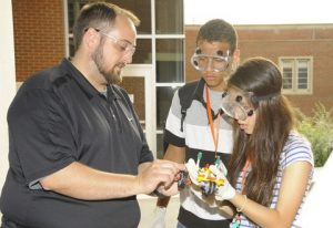 Professor Brian Long mentoring students during Chemical Car Design Project