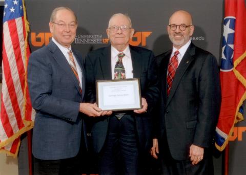 In picture (L-R): UTK Chancellor Jimmy Cheek, Chemistry Professor George Schweitzer, UT President Joe DiPietro