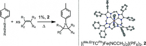 Synthesis of Aziridines from Alkenes and Aryl Azides with a Reusable Macrocyclic Tetracarbene Iron Catalyst.