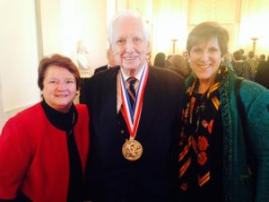 At the White House: Dr. Diane G. Schmidt, 2014 President-Elect of the American Chemical Society [left],Dr. Jerald Meinwald-Cornell University and National Medal of Science Laureate [center], Ms. Madeleine Jacobs, CEO and Executive Director of the American Chemical Society [right]